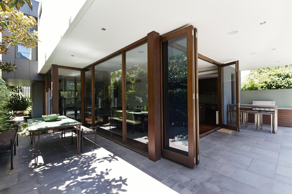 Bifold doors in an alfresco setting